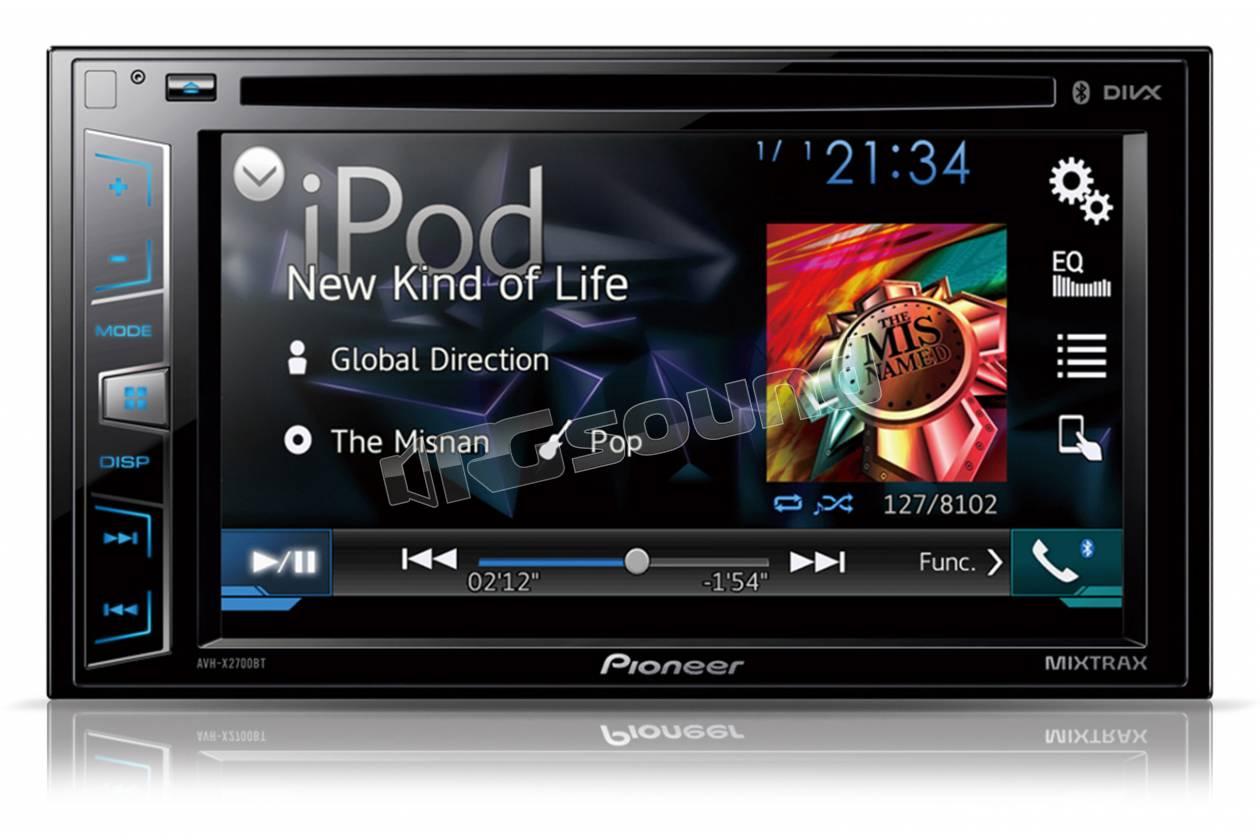 pioneer avh x2700bt monitor auto 1 e 2 din car. Black Bedroom Furniture Sets. Home Design Ideas