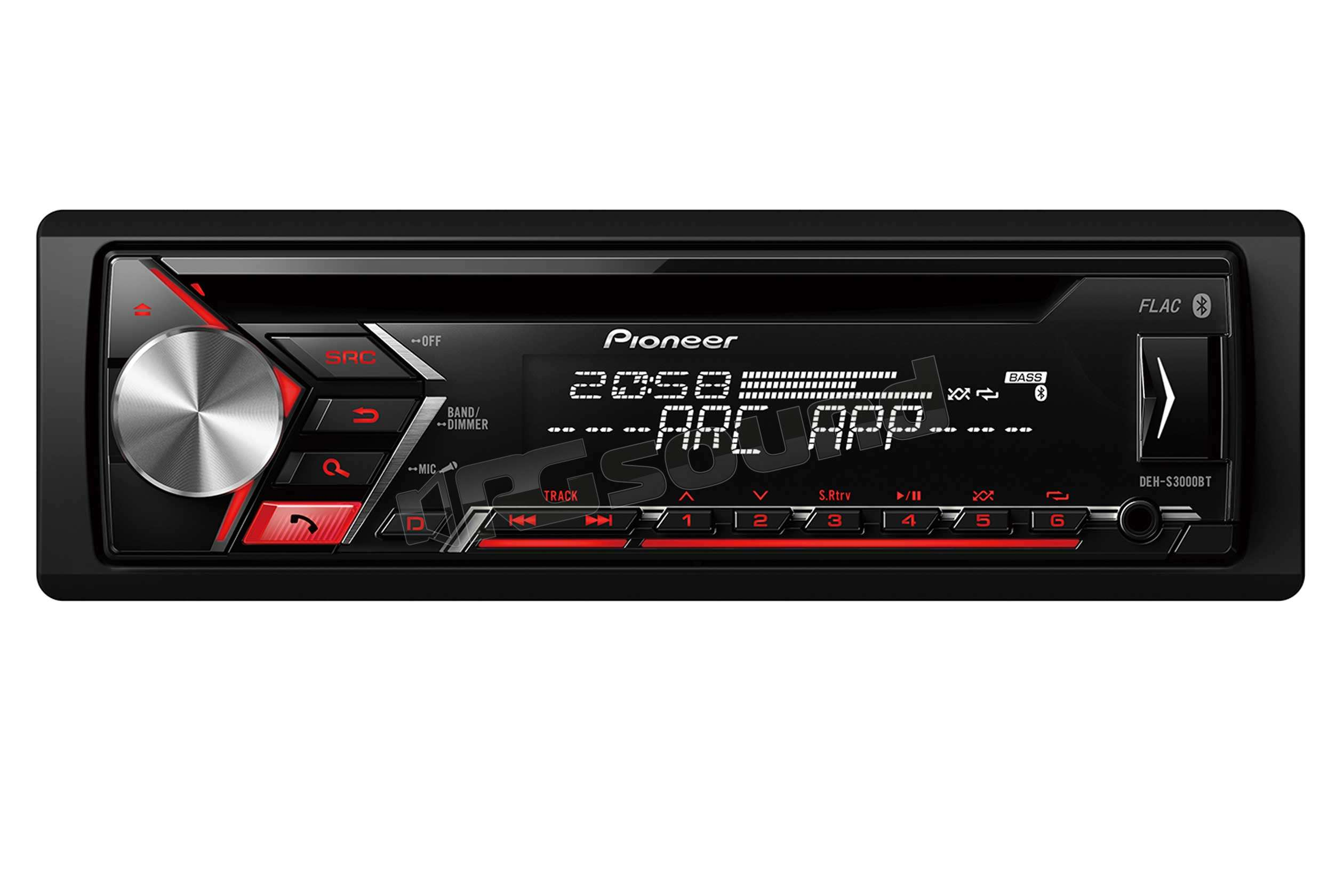 pioneer deh s3000bt autoradio 1 din e 2 din autoradio. Black Bedroom Furniture Sets. Home Design Ideas