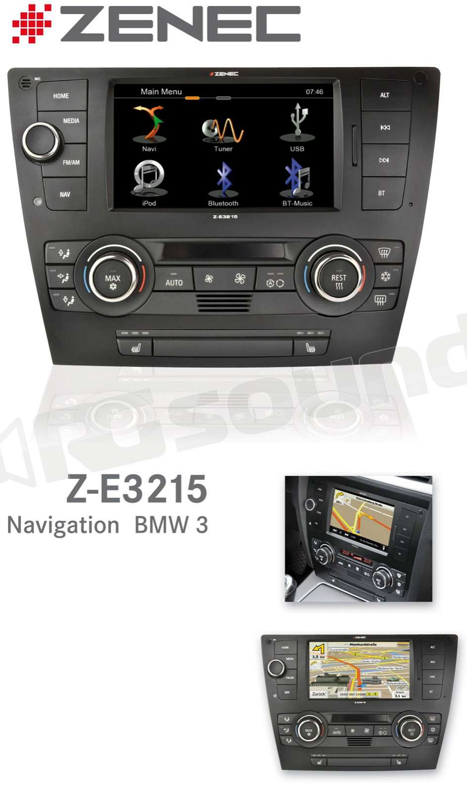 zenec z e3215 navigatore custom fit bmw serie 3 e90 e91. Black Bedroom Furniture Sets. Home Design Ideas